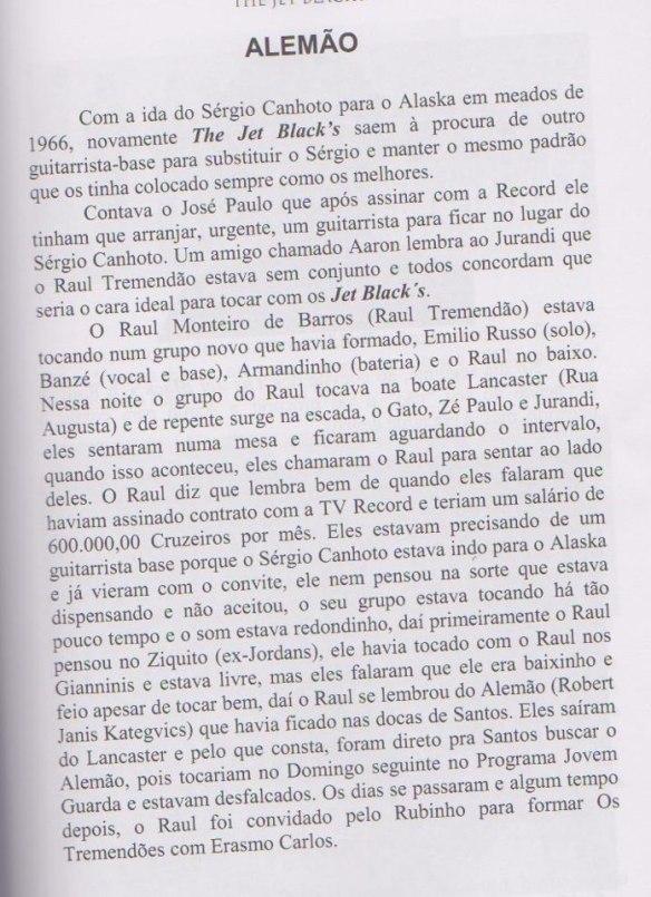 Raul Tremendão - página do livro sobre os Jet Blacks