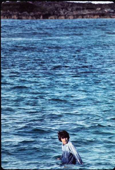 George Harrison during the filming of Help in the Bahamas in 1965. (Henry Grossman)