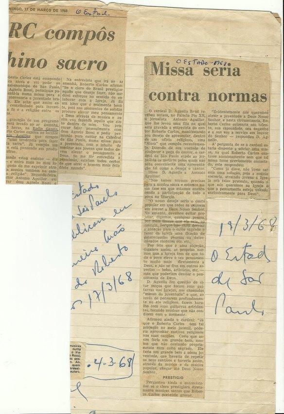 Recorte do jornal Estadão datado de 17 de março de1968