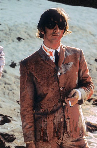 Ringo Starr covered in paint after filming a scene for Help! in the Bahamas in 1965. (Henry Grossman)