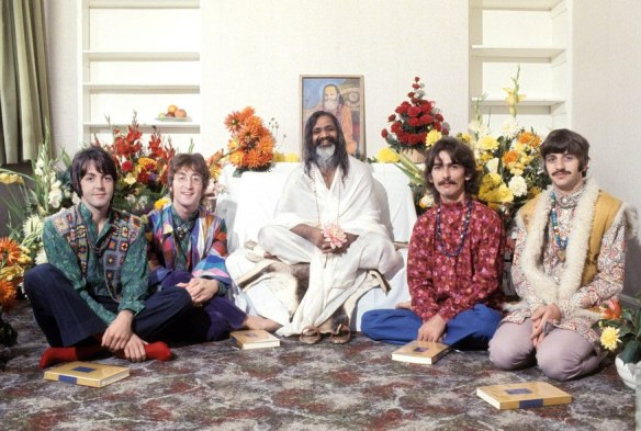 The Beatles in Wales, where they had travelled to learn more about Transcendental Meditation from Maharishi Mahesh Yogi in 1967.. (Henry Grossman