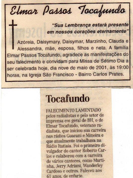 Nota de falecimento editada pelo colunista Mário Fontana, em 2001, pelo Jornal Estado de Minas Gerais.