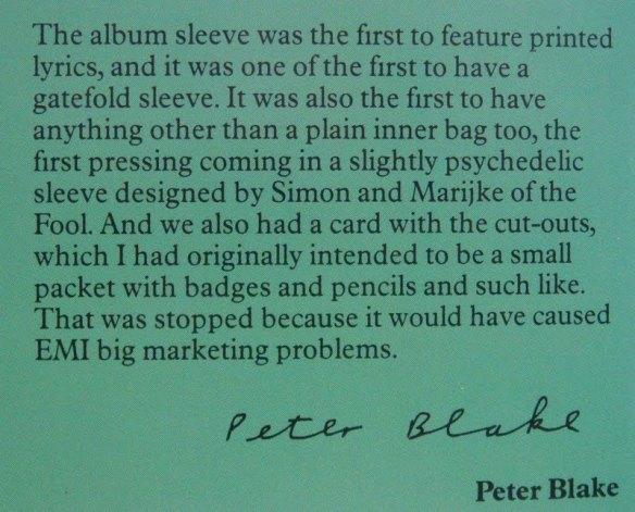 Primeiro álbum a vir com letras - sgt. pepper