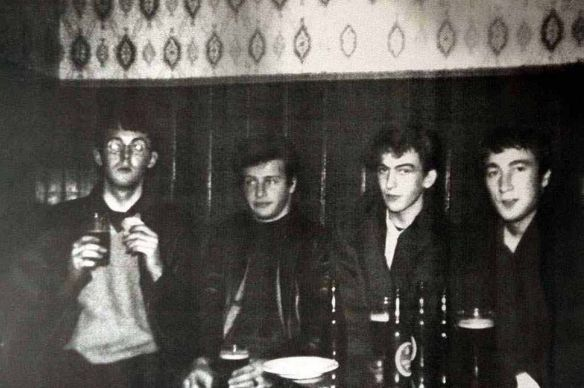 The Beatles Paul McCartney Pete Best George Harrison and John Lennon in the Grapes Pub in Mathew street, Liverpool