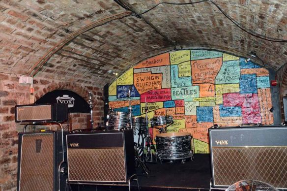 Then, Now and Together - The Beatles in Liverpool. We have taken a new picture from the same position as the old one. We have then superimposed the old picture onto the new one to 'ghost' the complete image. The Cavern, Mathew Street, Liverpool