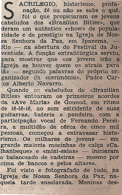 Pequena matéria dos Brazilian Bitles publicada em 1966 na Revista Clube Tv-Rádio do Rio de Janeiro. 4