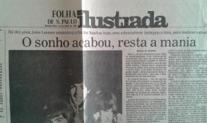 Folha de São Paulo de 10 de Abril de 1980. Uma página inteira é dedicada aos Fab Four. A manchete diz que foi John que split The Beatles! (foto do acervo de José Antonio Bueno da Silva, grupo We Love the Beatles Forever no Facebook))