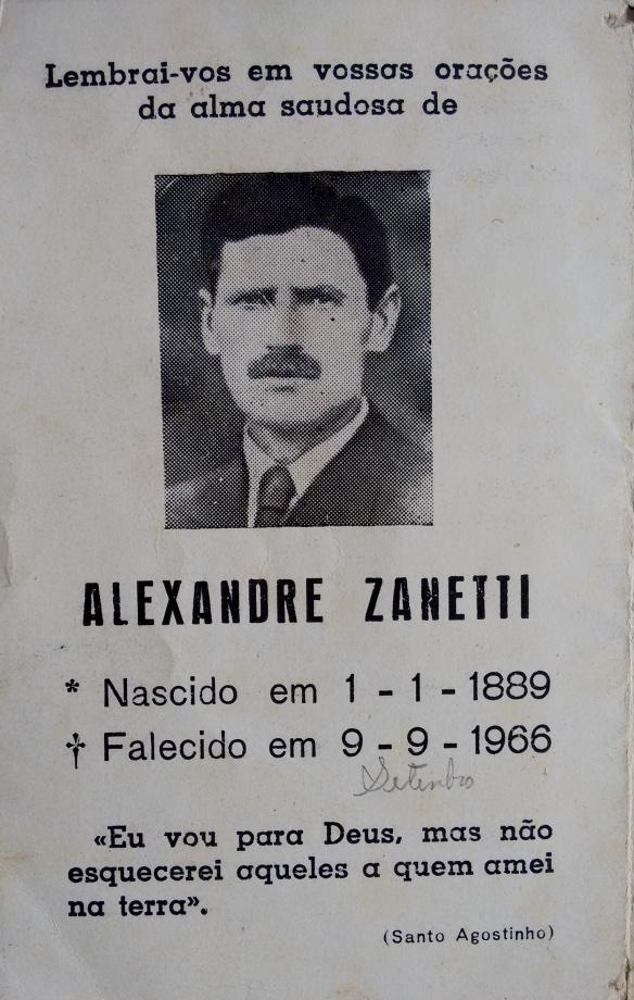 Nota de falecimento de Alexandre Zanetti