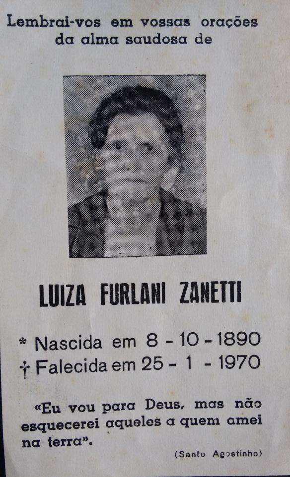 Nota de falecimento de Luiza Furlani Zanetti, esposa de Alexandre Zanetti