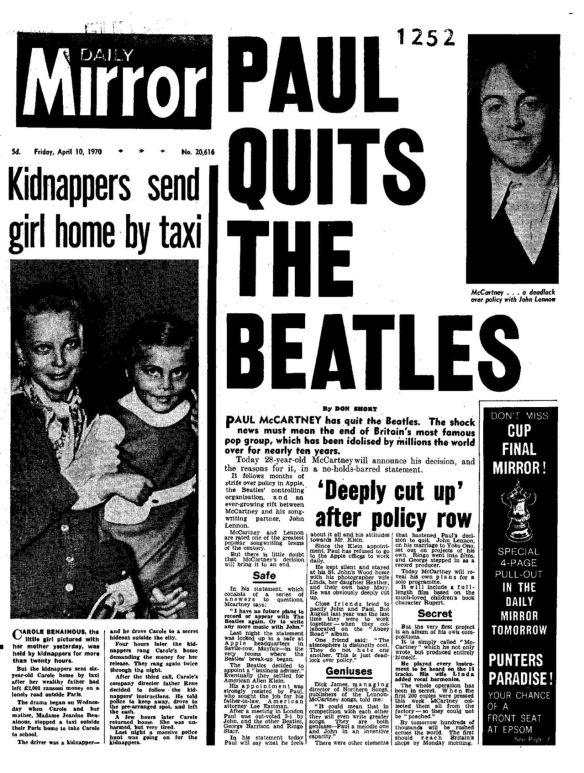 Daily Mirror - Sexta-feira, 10 de abril de 1970