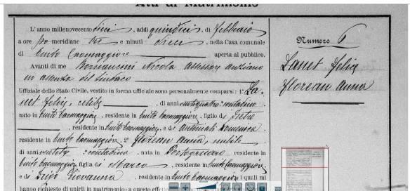 Certidão de Casamento de Felice Zanet e Anna Florian