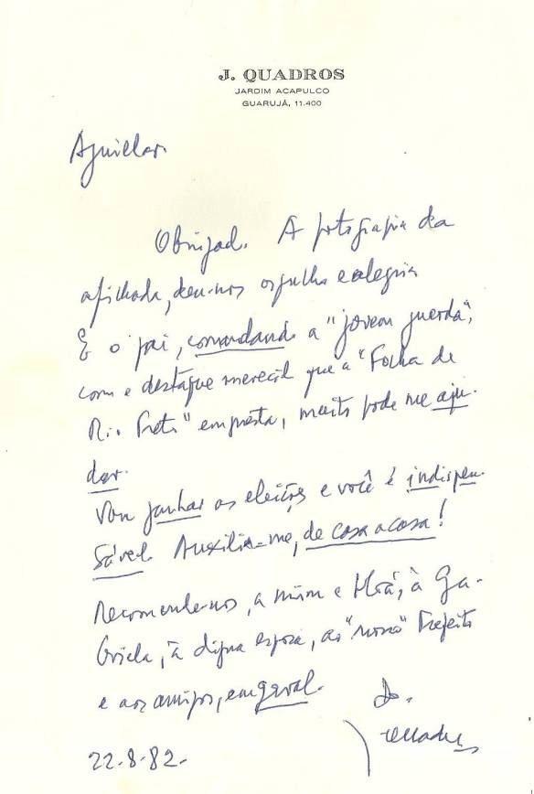 Aguillar - Carta de Jânio Quadros