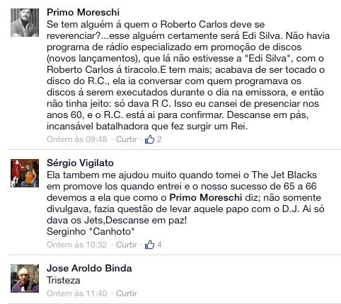 Joe Primo e Serginho Canhoto, dos The Jet Black's e o músico José Aroldo Binda lamentam a morte da divulgadora da CBS...