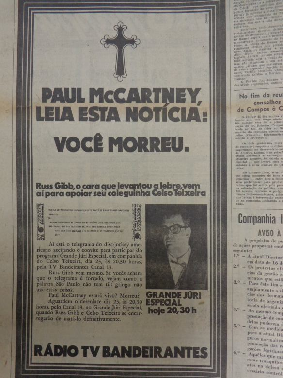 Jornal fala da morte do Paul 2