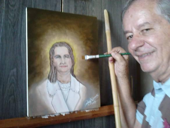 Primo pintando o retrato de sua mãe, suas feições ele só se recordava de memória...